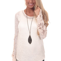 Cream Top with Crochet Patch Sleeve