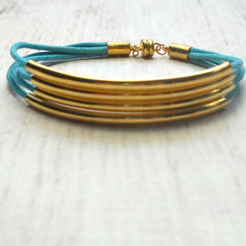 Gold Tube Bracelet - MultiStrand  Bracelet - Tube Bracelet - Bangle Bracelet - Bridesmaid Bracelets