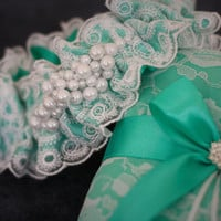 Mint Wedding Ring Holder and Garter Set \ Mint Wedding Pillow with White Lace \ Mint Bridal Garter and Pearls \ Mint Wedding Set \ Accessory