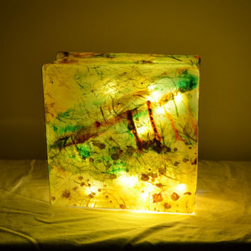 "Glass Box Lantern with String Lights in Limepeel Yellow - ""Merch Light"""
