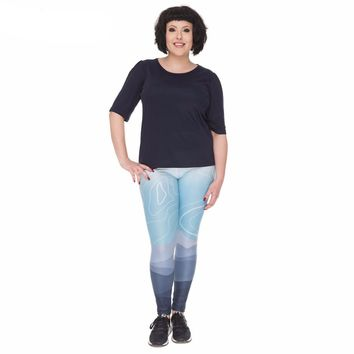 Curvy Mountain Print Leggings