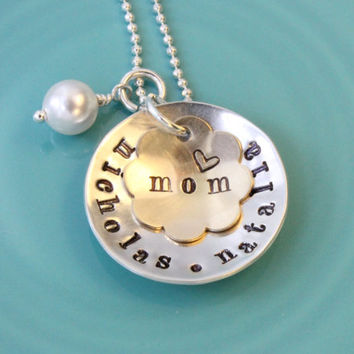 Personalized name necklace with mom pendant hand stamped sterling silver with brass Swarovski pearl mother necklace 7/8 inch disk