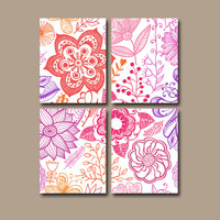 Flower Wall Art Canvas Flourish Pottery Bedroom Decor Pink Purple Bathroom Dahlia Design Floral Set of 4 Prints Bedding Shower Curtain