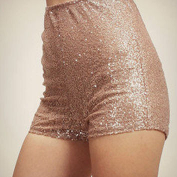 High Waist Sequin Hot Pants Short Shorts Metallic Shiny Pin-Up Dance Pretty Sexy