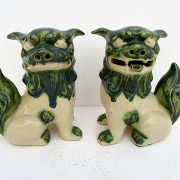 Vintage Foo Dog Art Pottery Statues Ceramic Chinese Lion Sculptures Pair Mid Century Figures