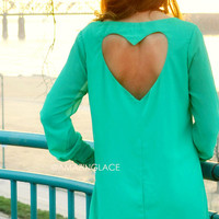 SZ LARGE Divine Devotion Jade Heart Back Dress
