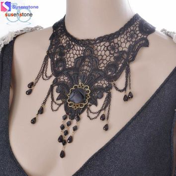 SUSENSTONE Women Lace Beads Choker Steampunk Style Gothic Collar Necklace Gift
