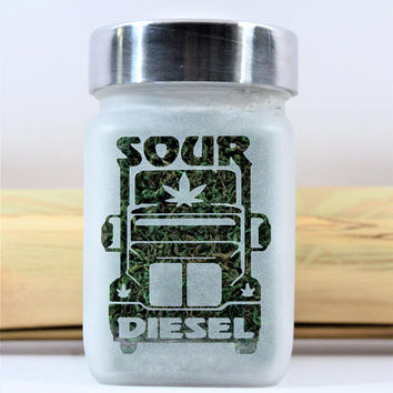 Sour Diesel Stash Jars - Cannabis Strain Etched Glass Weed Accessories & Stoner Gifts by Twisted420Glass