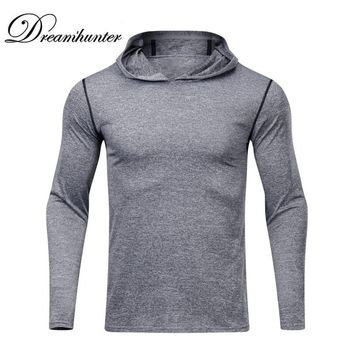 Mens Quick Dry T-Shirts Long-sleeved Hoodies Basketball Training Running Hooded Fitness Clothes 2018 New Gym Sports Shirts