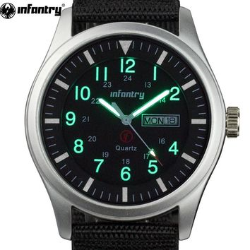 INFANTRY Men Watches Luminous Military Army Analog Date Day Sport Watch Nylon Strap Male Clock Quartz Watch Relogio Masculino