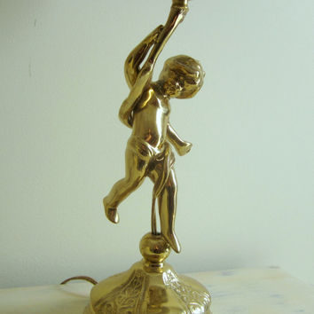 Brass Cherub Lamp with Black Shade , Table Lamp , Bedroom Lamp , Powder Bath Lamp