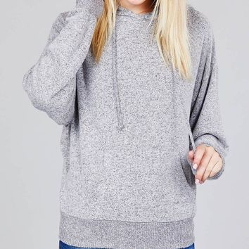 Ladies long sleeve hoodie w/drawstring brushed hacci knit top (a)