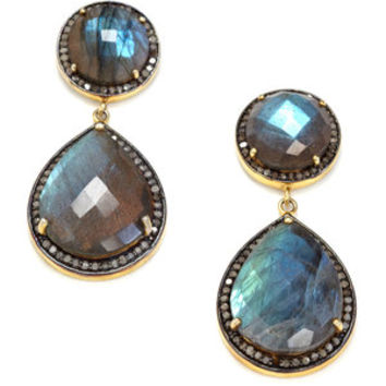 JEWELS BY LORI KASSIN N/A Champagne Diamonds and Oval Labrodrite Earrings