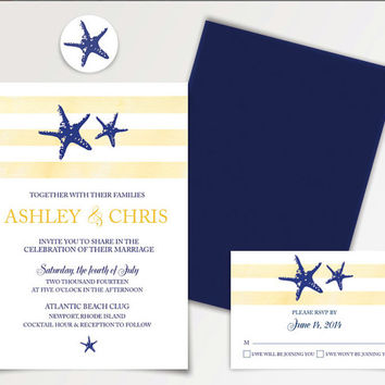 Blue and Yellow Beach Wedding Invitation Template - This DIY Cottage Chic Starfish Invitation is Available for Instant Download - Printable