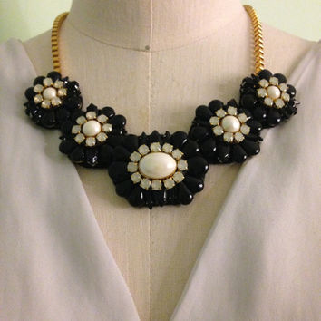 Handmade Black Stone, Opal, and Pearl Statement Bib Necklace on a Gold Chain