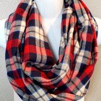 Nautical Toned Plaid Flannel Fall Infinity Scarf Womens Winter Fashion Accessories Girls Plaid Circle Scarves Trending Plaid Scarves