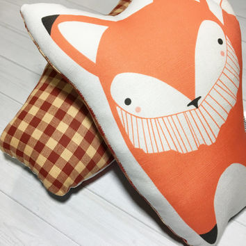 Plush Fox Pillow - Fox Cotton Pillow - Stuffed Fox - Nursery Pillow - Woodland Pillow - Orange Fox Pillow - Forest Animal - Gift Under 30
