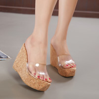 Transparent Platform Wedge Sandals