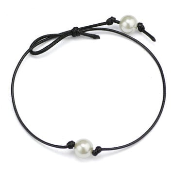 Women Single Pearl Leather Choker Necklace on Genuine Black Leather Cord Pendant