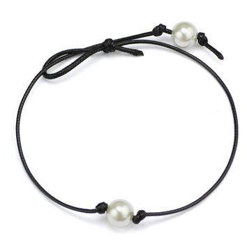 Women Single Pearl Leather Choker Necklace on Genuine Black Leat 2bc94489ab27