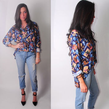 Vintage 1990s reconstructed SILK High Low postcard GRAPHIC PRINT long sleeve button down shirt blouse