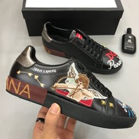 D&G Dolce & Gabbana Men's Women's  Leather Fashion Sneakers Shoes size 38-45