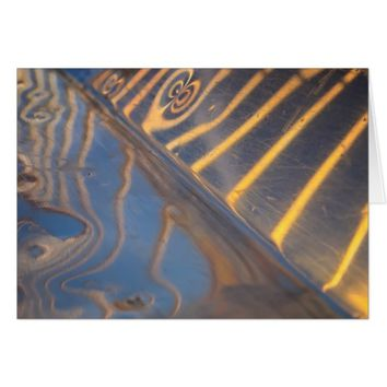 abstract blue, yellow and silver metal reflection card