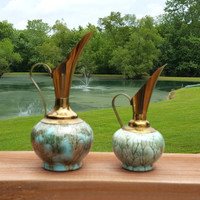 Holland Ewers Brass Enameled Pitchers Marble Effect Turquoise Aqua Brown Home Decor
