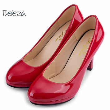 Beleza Elegant/Casual Shallow Mouth Round Toe Patent Leather Pumps