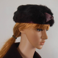 Brown Women's Mink Hat - 1960s Brown Winter Fur Hat -  Short Brown Mink Hat -  Brown Bow on Front - Free US Shipping