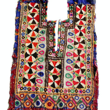 Indian vintage banjara neck yoke with embroidery and mirror work. Colourful threads gives it awesome look. Banjara front dressing neck yoke.