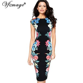 Vfemage Womens Elegant Vintage Symmetrical Floral Flower Print Cap Sleeve Summer Slimming Casual Party Pencil Sheath Dress 2845