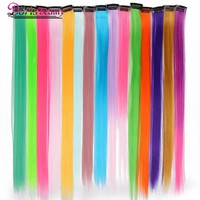 Doris beauty 1 Clip in Pure Color Hair Extensions Red Pink Purple 19 Colors 50 cm Long Straight Synthetic Heat Resistant Fiber