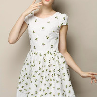 White Floral Short Sleeve Shirtwaist Pleated Mini A-Line Dress