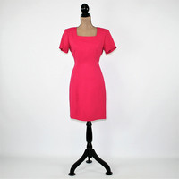 90s Wiggle Dress Small Short Sleeve Fitted Dress Sexy Minimalist Fuchsia Dark Pink Raspberry Size 6 Dress Vintage Clothing Womens Clothing