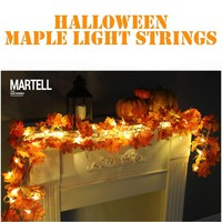 1.7M LED Lighted Fall Autumn Pumpkin Maple Leaves Garland Thanksgiving Decor LED Lighted Fall