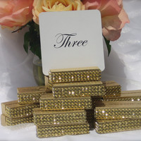 Gold Wedding Table Number Holder Trimmed with a Gold Crystal Wrap