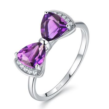 The Mermaid Trendy 1.55ct Genuine Natural Amethyst Sterling Silver Bowknot Ring