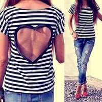Fashionable stripe backless T-shirt UJM32SD by Loulee's Boutique