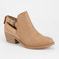 SODA Perforated Cutout Womens Booties | Boots & Booties