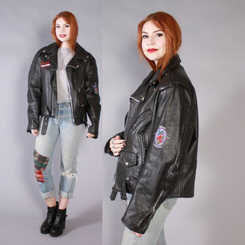 Vintage 90s Biker JACKET / 1990s JANES ADDICTION Tour Crew Black Leather Motorcycle Jacket