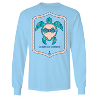Itsa girl Thing Southern Collection Turtle Anchor Bow Bright Long Sleeves T Shirt