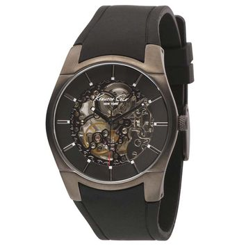Kenneth Cole KC1607 Men's New York Automatic Gunmetal Tone Skeleton Dial Watch