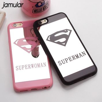 JAMULAR Superman Mirror Surface Case For iPhone X 7 Plus 5s SE Chrome Back Cover For iPhone 6s 6 Plus 8 Plus Cases Coque Fundas