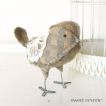 Soft Sculpture Textile Fabric Bird Softie in by asweetreverie