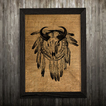 Burlap print Dreamcatcher art Tribal poster Antique print BLP87