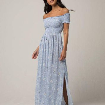 IVY & MAIN Smocked Off The Shoulder Maxi Dress