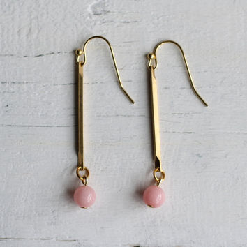 Pink Stick Earrings ... Vintage Brass Stick with Angel Pink Bead Chalcedon