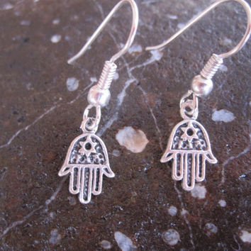 Tiny Silver Hamsa Hand Earrings, Good Luck, Protection