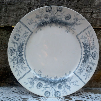 "Antique Blue Gray 9"" Luncheon Plate ~ 1890's, Johnson Brothers, ""Sylvan"", English Transferware DW-126, Antique, Semi-Porcelian"